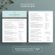 modern 2 page resume template with cover letter and reference page ...