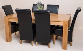 oak dining table and leather chairs gallery round room tables