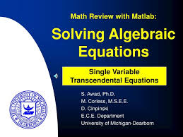 solving algebraic equations math review with matlab