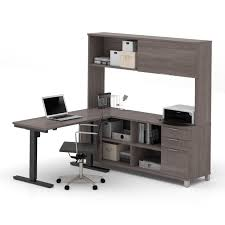 bestar pro linea l desk with hutch including electric height adjule table free today com 10951294