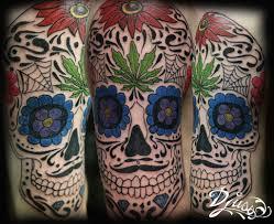 Tattoo Of A Skull Of Mexican Death Mexican Sugar Skull Canabis Leaf
