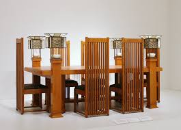 frank lloyd wright dining table and six side chairs designed for the robie house