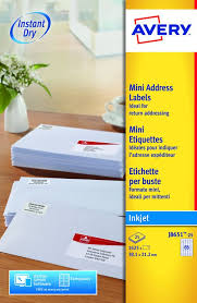 Avery Mini Address Labels Inkjet 65 Per Sheet 38 1x21 2mm White Ref J8651 25 1625 Labels