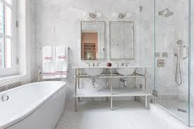 Marble wall tiles Blue Master Bathroom With Large White Marble Hexagon Wall Tiles The Home Depot Master Bathroom With Large White Marble Hexagon Wall Tiles