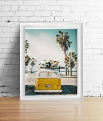surf wall art print yellow surf van