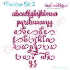 penelope set 2 exclusive calligraphy script monogram alphabet font for machine embroidery