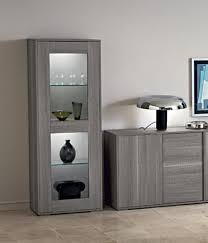marino collection modern 1 door display cabinet in grey saw marked oak effect finish