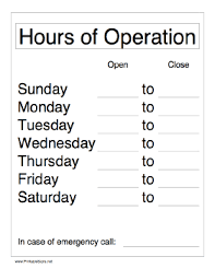 Hours Of Operation Template Free Printable Hours Of Operation Sign