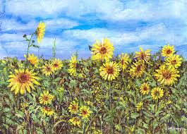 sunflower painting field of sunflowers by arline wagner