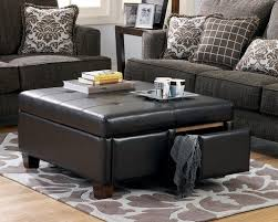 extraordinary black leather ottoman