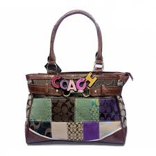 Coach Holiday In Monogram Large Coffee Satchels DJT