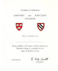 certificate of admission to harvard and radcliffe colleges  certificate of admission to harvard and radcliffe colleges courtesy of schlesinger library
