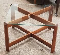 item l374 vintage teak glass coffee table c 1960s