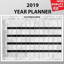 Details About 2020 Year Planner Wall Chart Calendar Black And White Style A4 A3 A2 A1