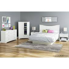 South Shore Step One Queen-Size Platform Bed in Pure White-3050233 ...