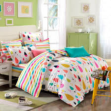 orange blue and red colorful rain drop with rainbow stripe sheet pastel style personalized cotton toile twin full size bedding sets