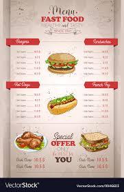 Food Menu Design Drawing Vertical Color Fast Food Menu Design Vector Image