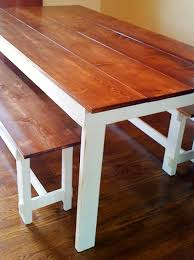 brown and white wooden farmhouse bench and table