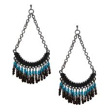 beaded chandelier earrings burnished silver turquoise