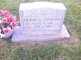 grave site of frank d sterling 1898 1983 billiongraves headstone image of frank d sterling