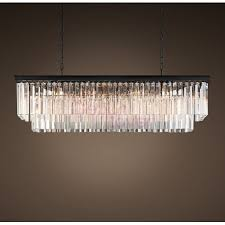 rh 1920s odeon clear glass fringe rectangular 2 tier chandelier design