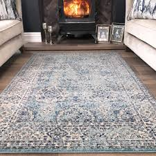 traditional distressed duck egg blue oriental rug vintage boho faded area rugs