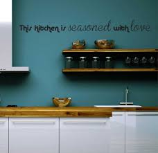 Blue Kitchen Wall Design With Wooden Shelf And Wooden Materials ...