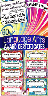 End Of The Year Awards English Language Arts Certificates Middle