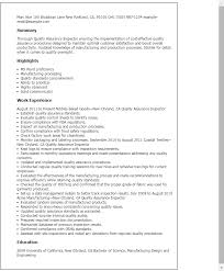 Resume For Quality Inspector Celoyogawithjoco Stunning Mechanical Inspector Resume