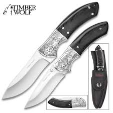 Pocket Knife With Wolf Design Timber Wolf Two Piece Black Wolf Hunter Knife Set Fixed
