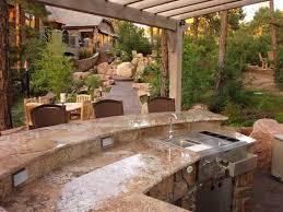 For Outdoor Kitchen Kitchen Neutral Outdoor Kitchen Ideas With Decorative Garden And
