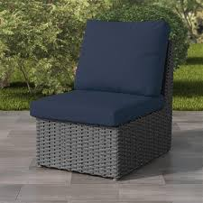 corliving charcoal grey wicker armless