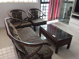solid wood sofa and coffee table