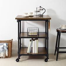 dorel living gladis rustic antique oak black multifunction cart