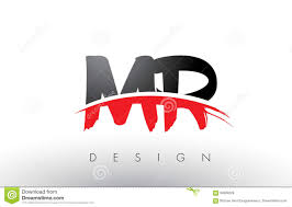 Front Logo Design Mr M R Brush Logo Letters With Red And Black Swoosh Brush