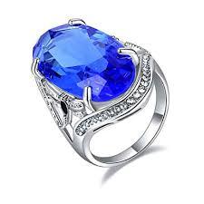 Ajojewel Big Crystal Blue Sapphire Ring Women ... - Amazon.com