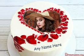 rose heart birthday cake for lover with