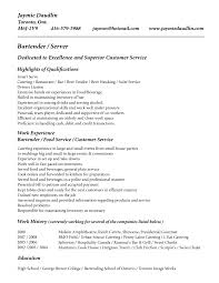 bartending resume samples