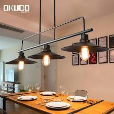 3 lamp holder vintage pendant lights black iron shade for kitchen industrial retro light hanging pot