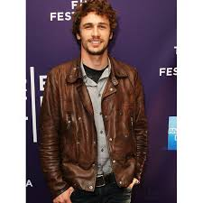 james franco biker style brown leather jacket for men