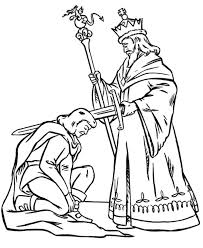King Blessing Knight Before War in Middle Ages Coloring Page king blessing knight before war in middle ages coloring page on middle ages coloring pages