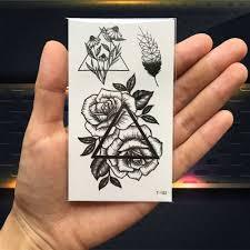 черная треугольная роза цветок фальшивая временная татуировка стикер для женщин