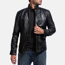 mens tea house black leather jacket 1