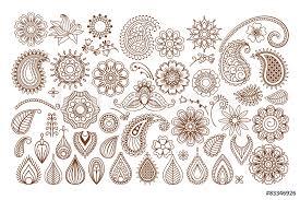 Fotografie Obraz Henna Tattoo Doodle Elements Posterscz