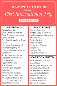 International Travel Packing Checklist Know What To Bring On Your First International Trip