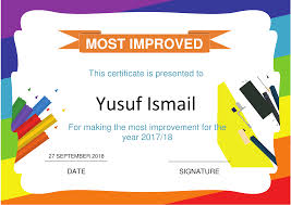 Most Improved Certificate An Nasihah Publications