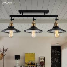 2019 fashion vintage loft diy black iron ceiling light home deco mirror glass lampshade 3 e27 edison bulb dining room ceiling lamp from lvzhilamp