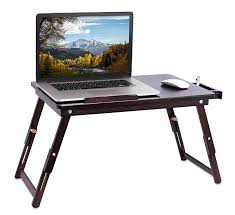 com sofia sam bamboo laptop lap tray with adjule legs foldable breakfast serving bed tray lap desk with tilting top and side drawer