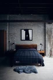 masculine furniture. masculine bachelor bedroom decor gray brick wall wooden furniture ideas h