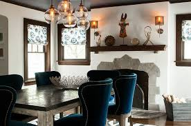 farm dining table chairs bring a splash of blue